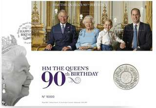 The Queen's 90th Birthday 2016 UK £5 Proof Silver Coin.