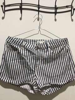 h&m stripe shorts