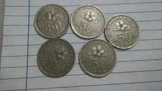 50sen Bunga Raya 1995. 5pcs