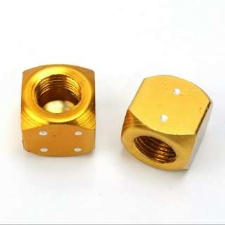 2 Pcs (1 Pair)Novel Gold Tone Dice Bike Auto Car Truck Tire Valve Caps Aluminum MTB Wheel Stem Tyre Air Valve Dust Dustproof Caps