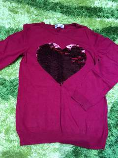 Sequin Red Hearts Top