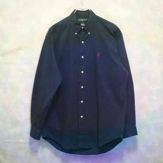 三件7折🎊 Ralph Lauren Polo 襯衫 長袖襯衫 深藍 小紅馬 極稀有 老品 復古 古著 Vintage