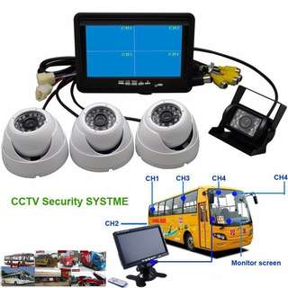 "Heavy Vehicles Mobile Car DVR Security CCTV Recording Camera System for School Bus/Van/Lorry/Bus/Truck/Coach/Crane/Excavator/Trailer - 7""inch LED Monitor+Reverse Rear/Front/Side/Cabin Camera (Wide-Angle/Weatherproof/Night-Vision/12-24V/LTA Approved)"