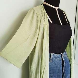 Soft Green Cotton Kimono/ Blazer
