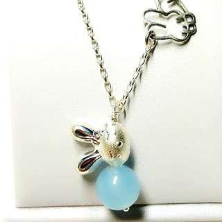 🚚 全新【兔兔】海藍寶純銀項鍊/海藍寶/純銀項鍊/銀項鍊/925銀項鍊/石頭王