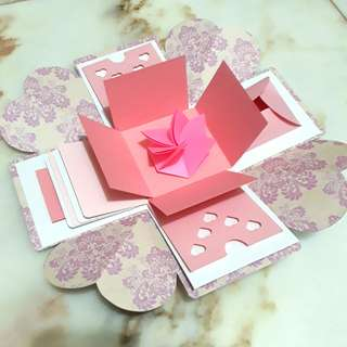 Explosion Box - pink Anniversary or Birthday Gift Card