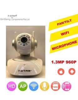 7-STAR* Premium High Quality Wifi Wireless IP PTZ Camera (360 Degree Pan Tilt Zoom/True 960P 1.3MP HD Resolution/Wide-Angle/Night-Vision/Two-Way Audio/Fast & Stable Remote View for Mobile/PC APP)