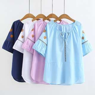 (XL~4XL) 2018 Summer Korean version of loose cotton embroidery V-neck short-sleeved T-shirt
