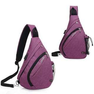 🚚 【Q夫妻】shoulder bag 韓版 連接USB充電接口 斜背包 斜跨包 帆布包 休閒包 單肩包 大容量包 紫色 B0007-4
