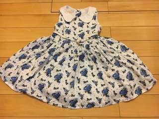 🚚 藍玫瑰花淑女小洋裝附皮帶有內裏,90cm,九成新