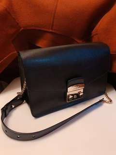 Furla 黑色 大 上膊袋 手袋 shoulder handbag metropolis bag