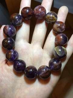 15-15.7mm 紫晶彩幽靈天然水晶