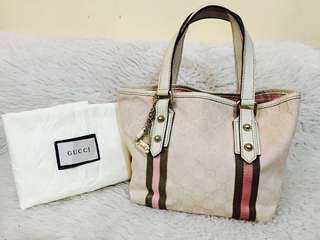 Authentic Gucci Canvass Tote Bag with Charm