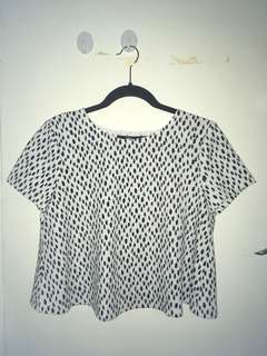 Super cute cropped animal print Dalmatian spotted black and white top with open back