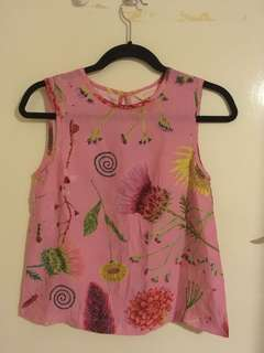 Gorman pink floral  Silk Top  Sz 6