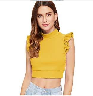 P2mart ✌🏼✔PRE ORDER STOCKS ✔Ginger Casual Mock Neck Ruffle Armhole Ribbed Top