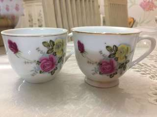 Tea Cup Pink and Yellow Roses