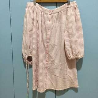 PETIT MONDE PASTEL PINK OFF SHOULDER DRESS