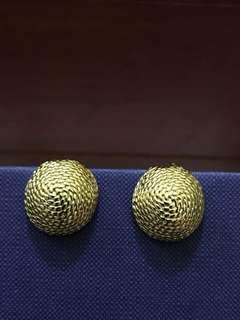 免運費❗️Vintage 老件 古董 復古大耳環 金色 立體 麻花 半圓 夾式耳環 earring golden
