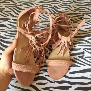 Forever 21 nude pink fringe sandals