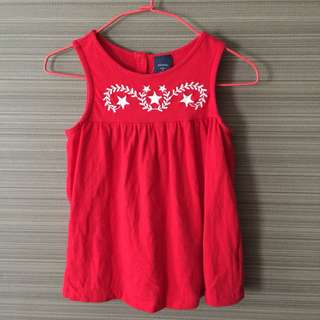 🚚 《babyGap》紅色星星刺繡無袖上衣(100cm)(*二手*)