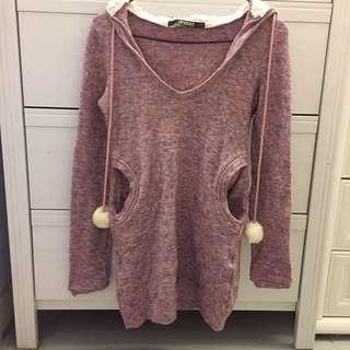 氣質粉紫長版連帽毛衣