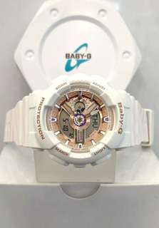 * FREE DELIVERY * Brand New 100% Authentic Casio BabyG Cream Case & Rose Gold Index Baby G Ladies Watch Baby-G BA-110CH-7ADR