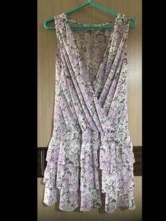 免運費❗️無袖 身V 粉色 紫色 碎花 洋裝 蛋糕裙 蝴蝶結 黑色 白色 超涼感 雪紡紗