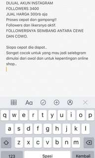 JUAL AKUN IG 3rb Followers 300rb