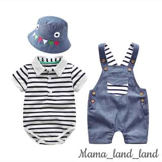 Lovely strip baby cartoon cotton separate top + jumpsuit + hat @Set