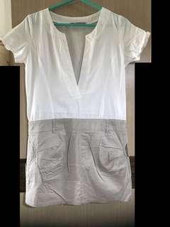 免運費❗️MAYUKI 東京著衣 襯衫式 洋裝 白色 卡其 雙色 跳色 窄裙 短裙 短袖 V領 OL 文青