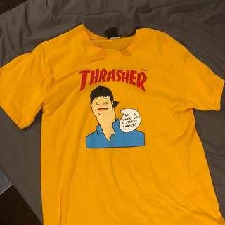 🚚 Thrasher 滑板 t恤 t-shirt 黃 L