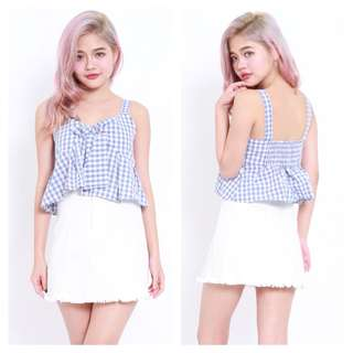 Carrislabelle Babydoll Checkered Top (Blue)