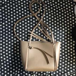Khaki bag with inside detachable pouch