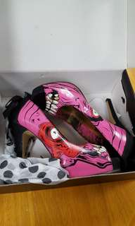 Iron Fist pink Zombie gold digger platform heels