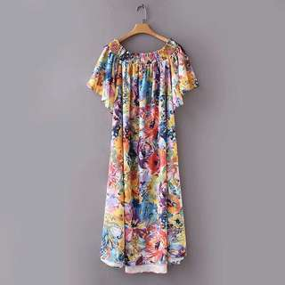🚚 Europe and the United States color printing word shoulder long dress