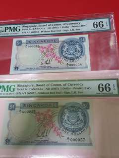 $1-singapore 1st series orchid 2pcs running 1st prefix .low serial A/1-000057-A/1-000058.BOTH PMG66EPQ RARE.