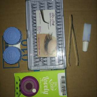 Softlens gray blue dan paket eyelash extension