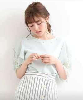 日系雪紡蕾絲雙層袖位綴彷珍珠上衣