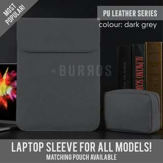 📣INSTOCKS📣 Dark Grey PU Leather Sleeve Protector Case Apple Dell Asus HP Acer Lenovo