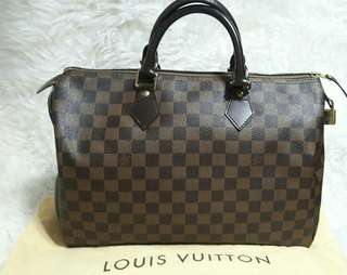 Authentic Louis Vuitton Speedy Damier Ebene sz35cm-Excellent🎂🍇🌻