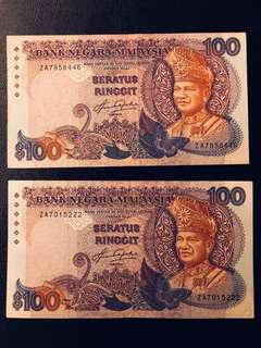 Malaysia $100 (5th series) - 2 pieces