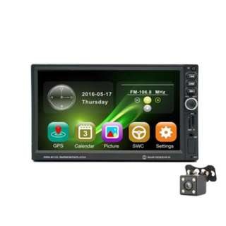 8012G 7 INCH CAR MP5 PLAYER WITH NAVIGATION REVERSING WITH CAMERA (BLACK)