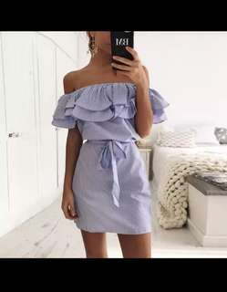 Womens Dresses Summer Floral Off The Shoulder Bardot Sleeve Evening Shirt Dress Top Strip