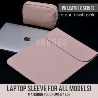 📣INSTOCKS📣 Blush Pink PU Leather Laptpp Sleeve Protector Case Apple Dell Acer HP Lenovo Asus