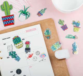 Holographic Succulents & Cactus Scrapbook / Planner Stickers #132