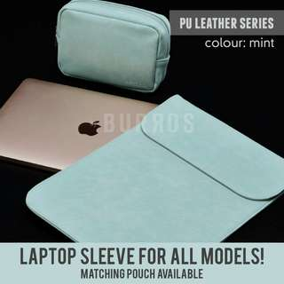 📣INSTOCKS📣 Mint PU Leather Laptop Sleeve Protector Case Apple Dell Lenovo Asus Acer HP