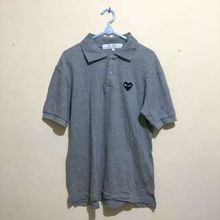 CdG PLAY Black Heart Polo Shirt Grey