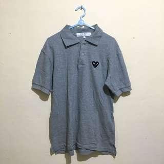 CdG PLAY Black Heart Polo Shirt Grey