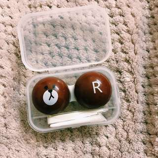 LINE BROWN CONTACT LENS CASE